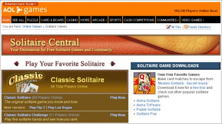 AOL Solitaire Central